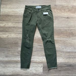 NWT Olive Green Ankle Crop Distressed Skinny Jeans